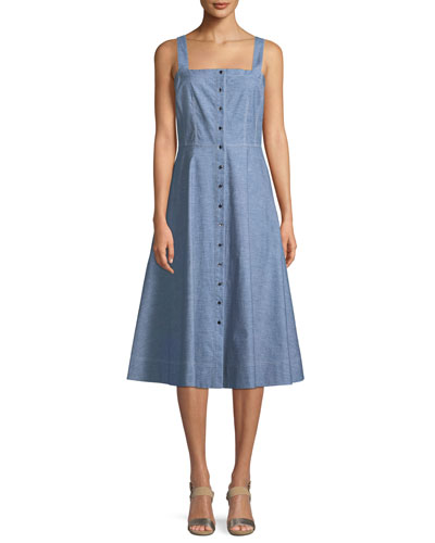 Astute Denim Fit-and-Flare Button Dress