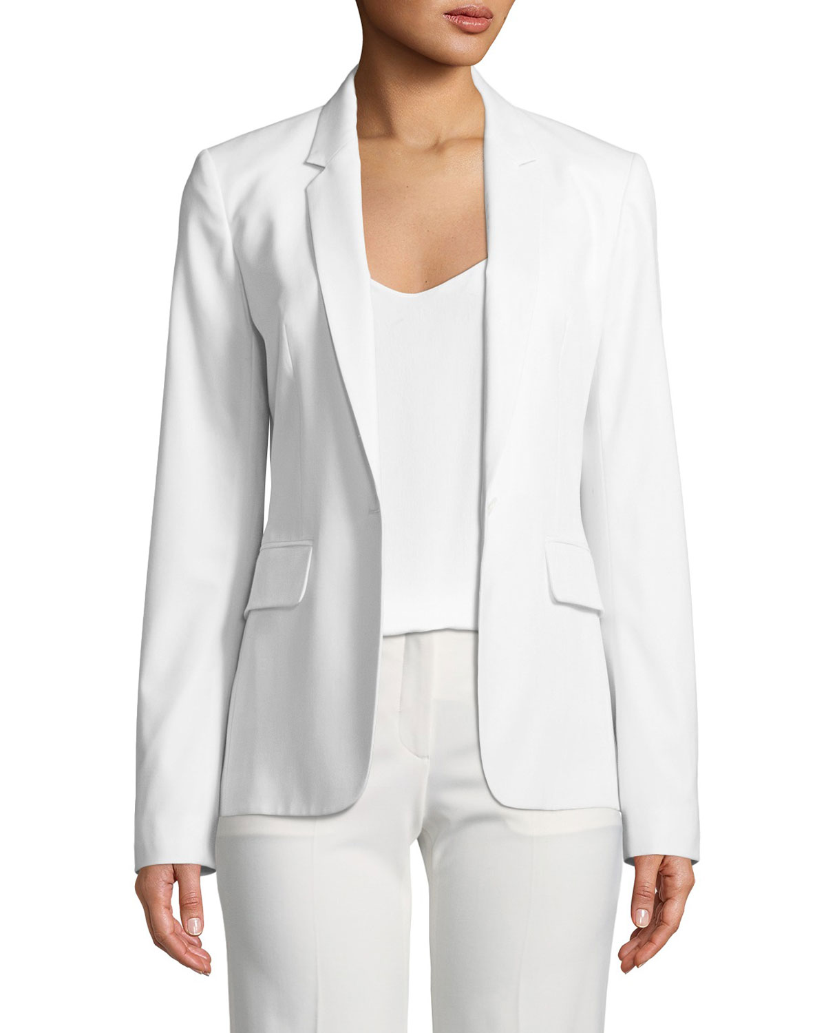 5f8df06f12 Theory Essential One-Button Polished Wool Jacket | Neiman Marcus