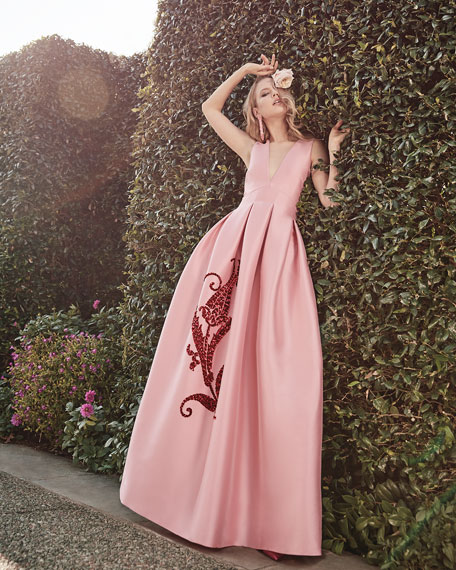 Embroidered Tulip Taffeta Sleeveless Gown