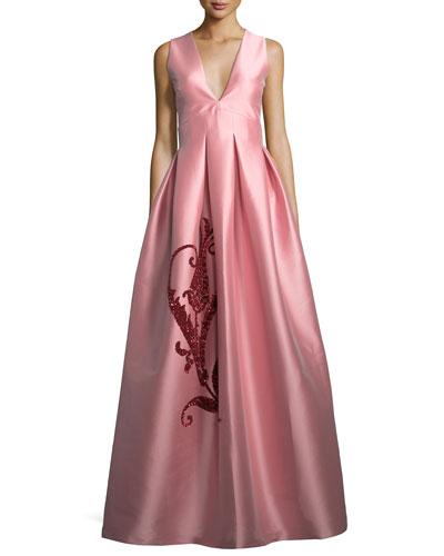 Embroidered Tulip Taffeta Sleeveless Gown
