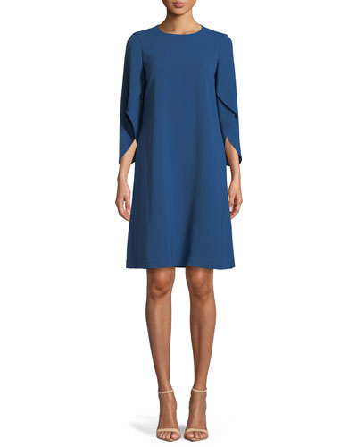 Finese Crepe Zahara Draped-Sleeve Dress