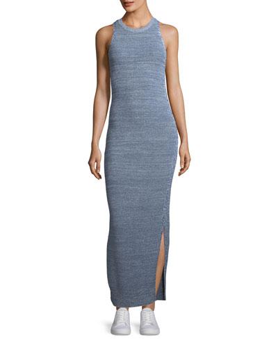 Marl Pointelle Sleeveless Tank Maxi Dress