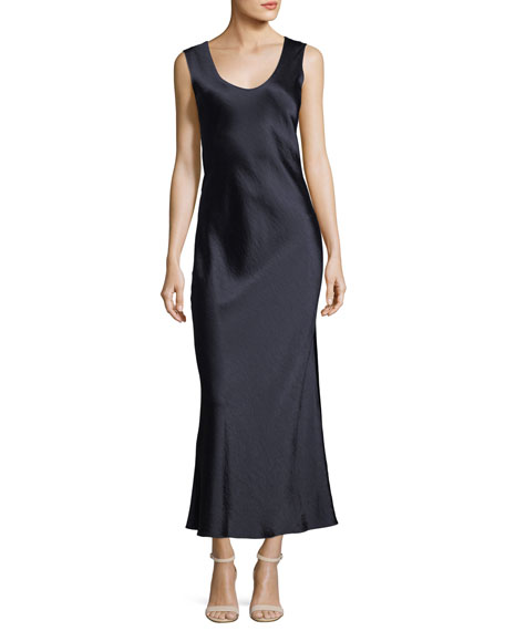 Cowl-Back Sleeveless Double-Sateen Midi Dress