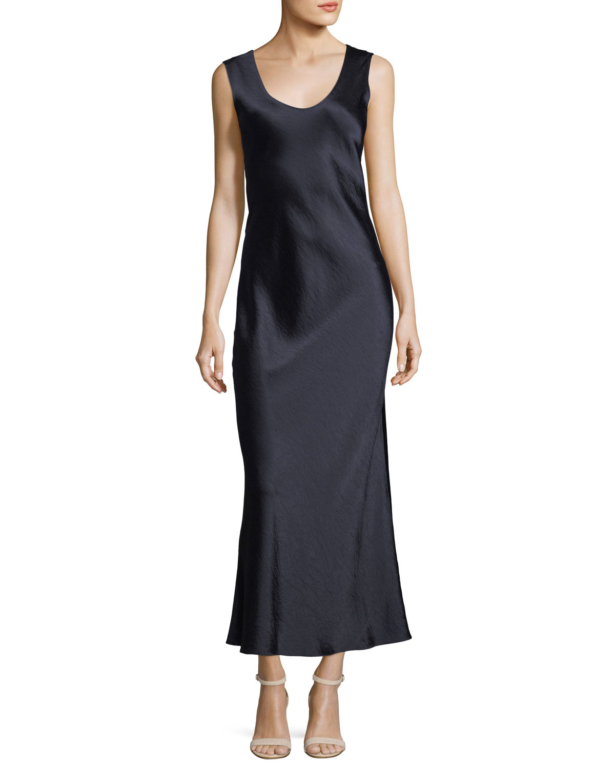 f7affd88b5f Theory Cowl-Back Sleeveless Double-Sateen Midi Dress | Neiman Marcus