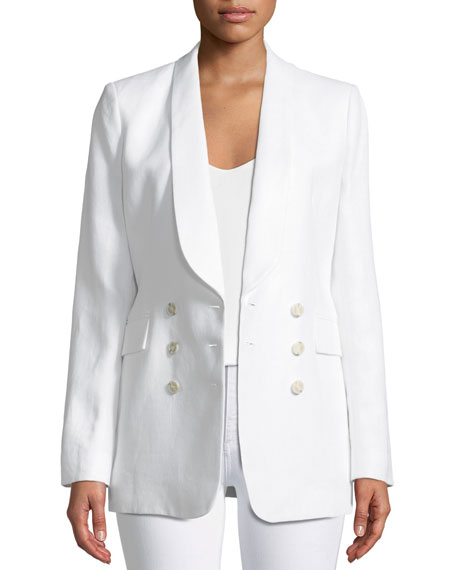 Shawl-Collar Double-Breasted Integrate Linen Blazer