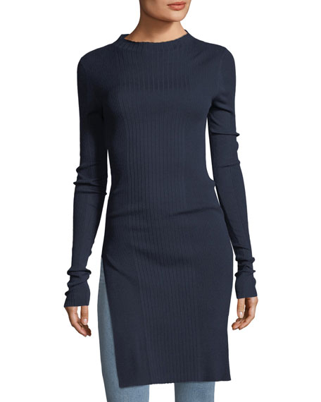 Jewel-Neck Long-Sleeve Prosecco Rib-Knit Tunic