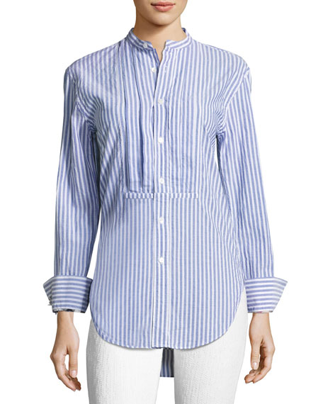 Burberry Striped Stand-Collar Shirt with Pintucked Front