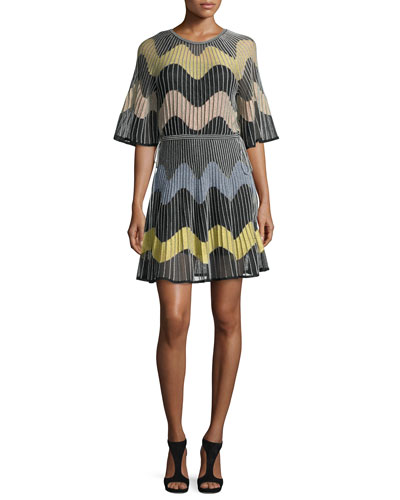 Wave Intarsia Sheer Mini Dress