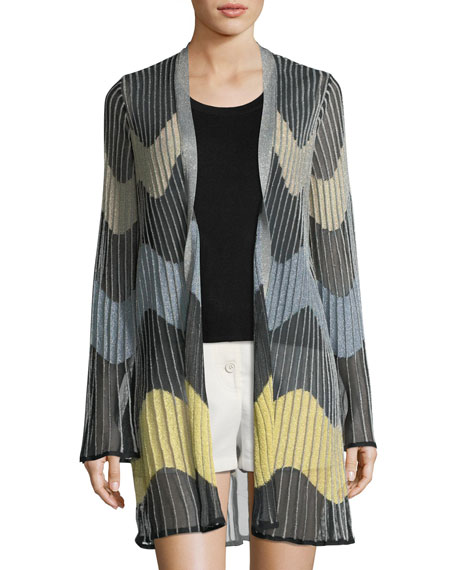 Wave Intarsia Sheer Cardigan