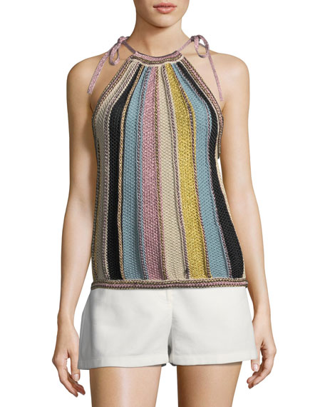 M Missoni Vertical Striped Crochet Top