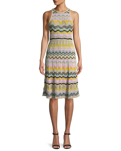 Wave Crochet Fit Flare Dress