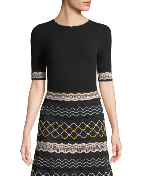 M Missoni Ribbon Wave Stripe Short-Sleeve T-Shirt and