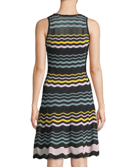 Colorblock Sleeveless Ripple-Knit Dress