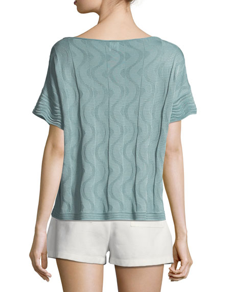 Solid Knit Short-Sleeve Top