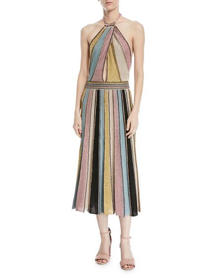 Crochet Striped Halter Dress