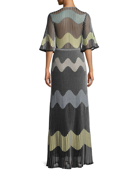 Metallic Wave Intarsia Maxi Dress