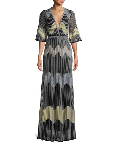 Metallic Wave Intarsia Maxi Dress