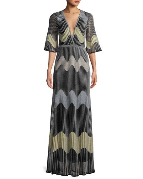 M Missoni Metallic Wave Intarsia Maxi Dress