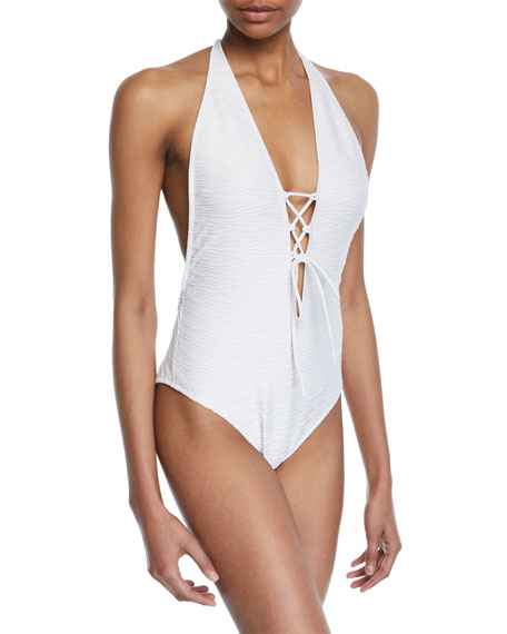 Milly Lace-Up Halter Textured One-Piece Swimsuit