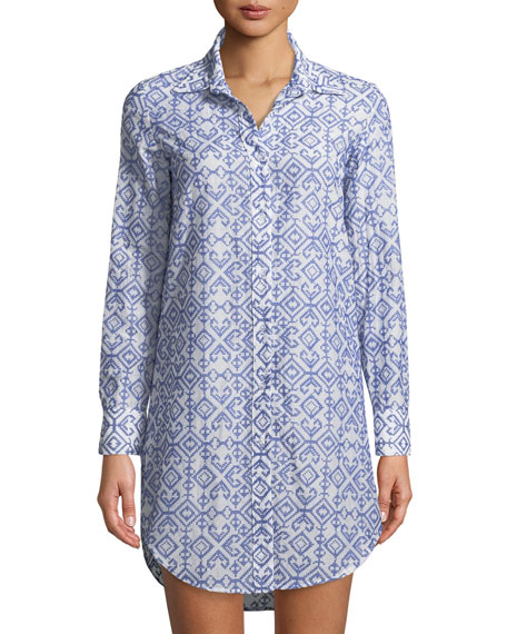 Milly Jessica Button-Front Long-Sleeve Printed Coverup