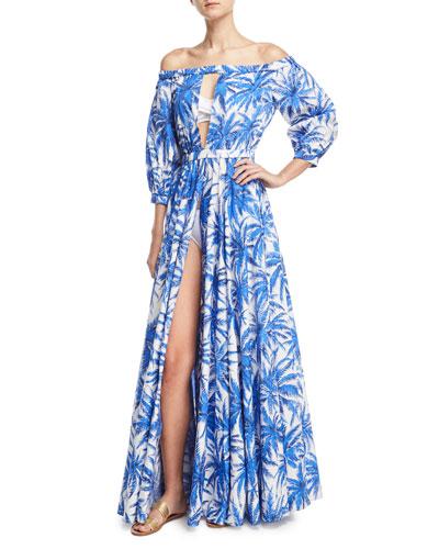Jenny Off-the-Shoulder Slit Front Floral-Print Maxi Coverup Dress