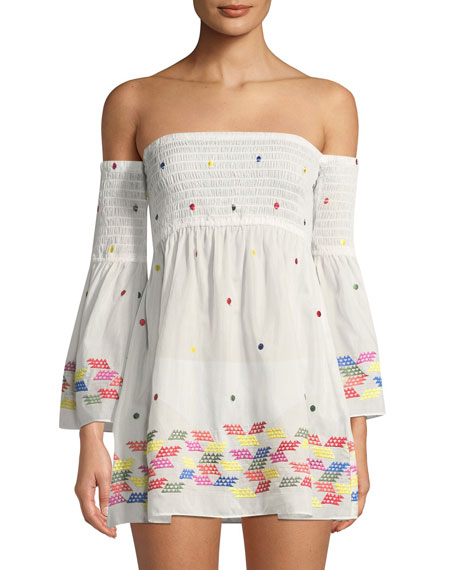 Milly Smocked Embroidered Coverup Dress