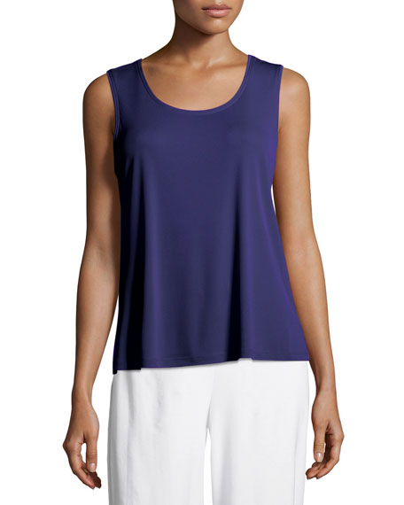 Stretch Silk Jersey Scoop-Neck Tank Top, Plus Size
