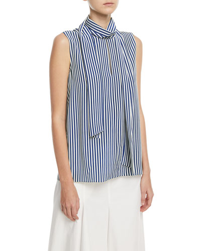 Deck Chair Stripe Silk Top with Necktie Detail