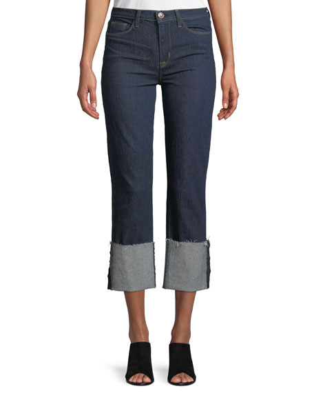 Hudson Zoeey Deep-Cuff Straight-Leg Crop Jeans