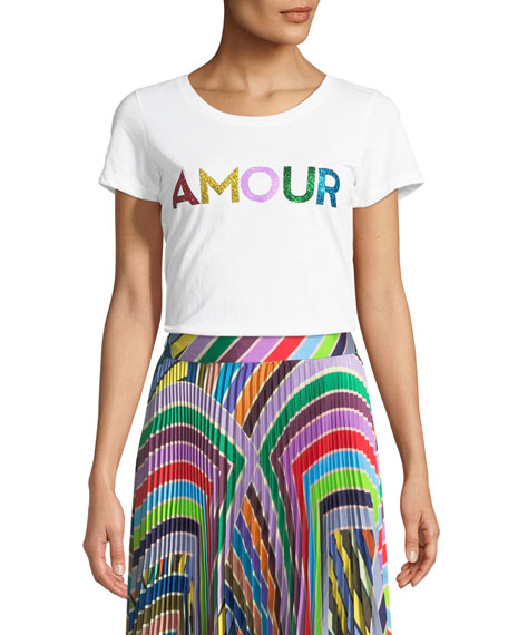Amour Scoop Neck Graphic Tee by Milly