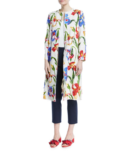 Jenson Beaded Floral Linen Coat