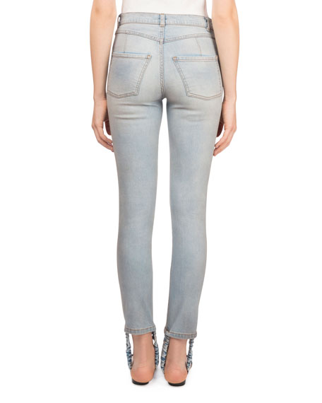 Benson Skinny-Leg Light-Wash Jeans with Stirrup