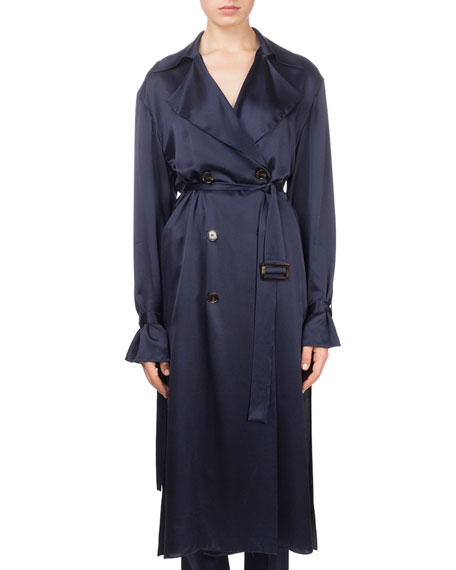 Punta Cana Double-Breasted Belted Silk Trench Coat