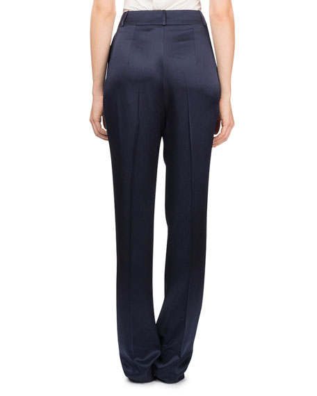 Halle High-Waist Straight-Leg Silk Trousers