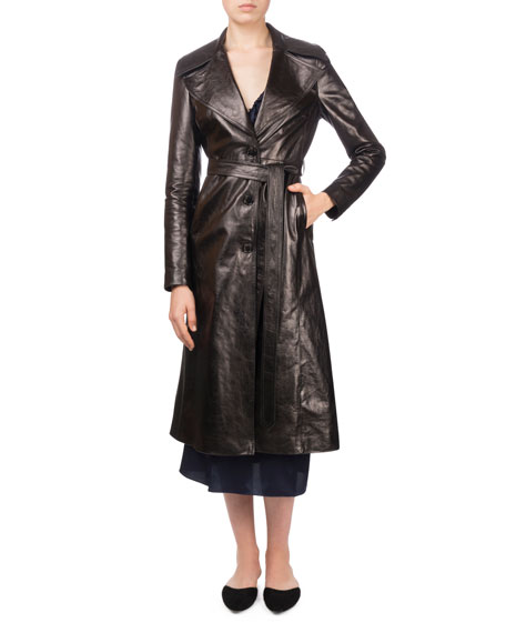 Indiana Button-Front Belted Leather Trench Coat