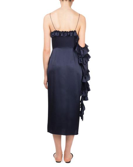 Pozallo V-Neck Button-Front One-Sleeve Ruffle Sheath Dress
