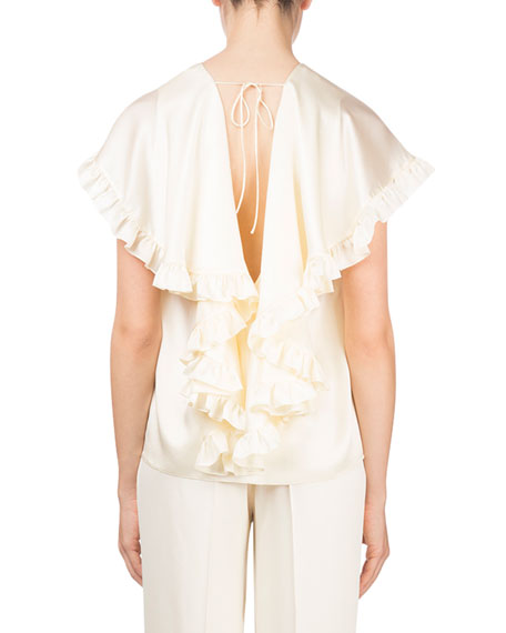 Piccio Ruffled Cape Drape-Back Silk Cocktail Blouse
