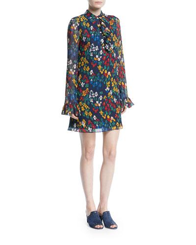 Livia Iris Garden Printed Long-Sleeve Dress