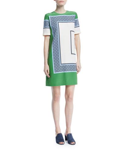 Mallory Scarf-Print Short-Sleeve Shift Dress
