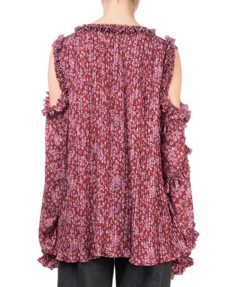 Rijeka Floral-Print Open-Shoulder Silk Blouse w/ Ruffled Trim