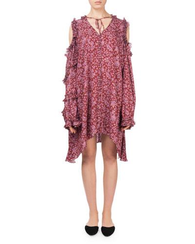 Zagreb Floral-Print Open-Shoulder Silk Dress w/ Ruffled Trim