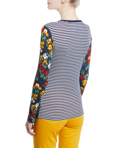 Katrian Floral Dot-Print Long-Sleeve Tee