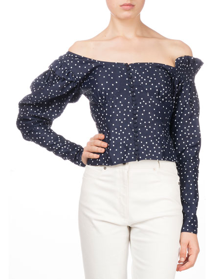 Vannes Off-the-Shoulder Polka-Dot Fitted Top