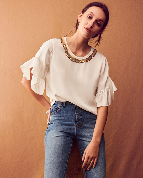 Annette Chain-Embellished Blouse