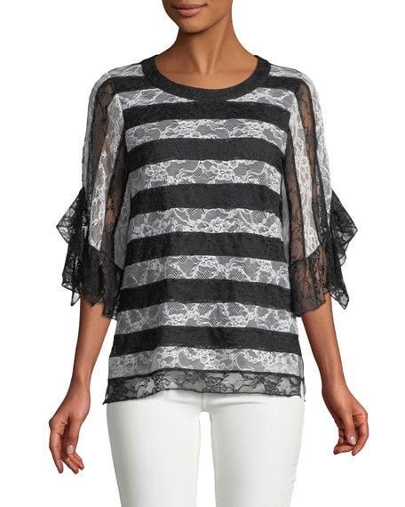 Kobi Halperin Opal Crewneck Striped Lace Blouse