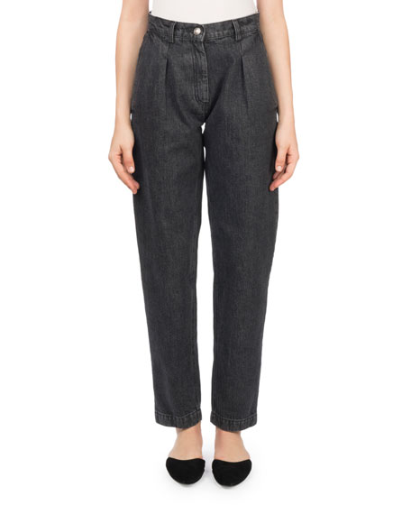 Huntsville High-Waist Pleated Stovepipe Jeans