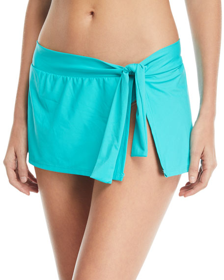 Tie-Waist Hipster Swim Skirt