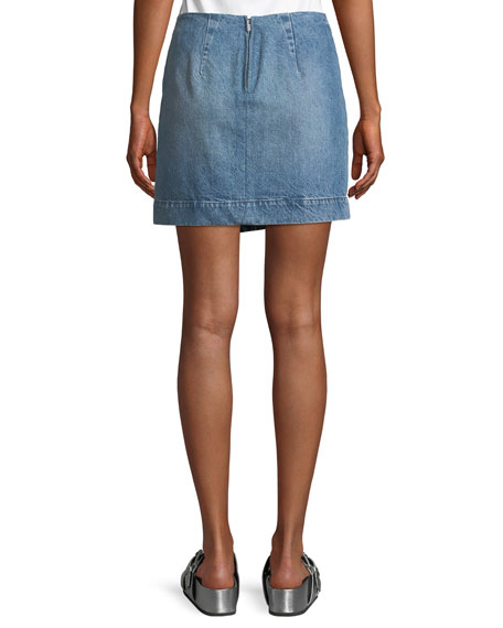 WS Hollow Denim Skirt with Lace-Up Detail