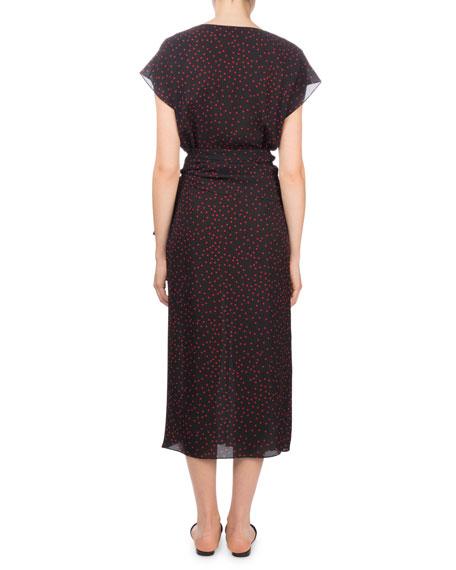 Diablo V-Neck Cap-Sleeve Polka-Dot Silk Wrap Dress
