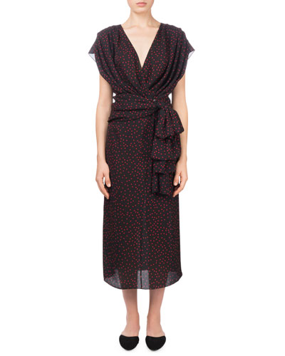 Diablo V-Neck Cap-Sleeve Polka-Dot Silk Wrap Dress